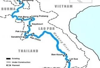 Existing and proposed dams on the Mekong River in various countries. Graphics by International Rivers.