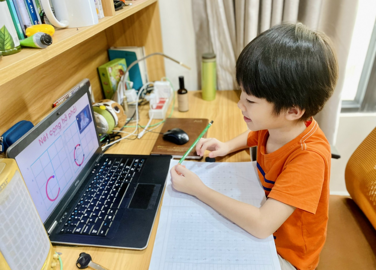 A student of Luong The Vinh Primary School in HCMCs District 7 has his online lesson. Photo courtesy of parents