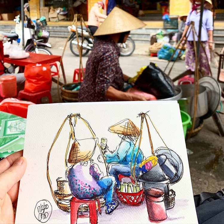 Barnes admitted she fell in love with Hoi An when she first traveled to Vietnam in 2012. Since then, she has been coming back between one to three times each year to continue drawing and hold different art workshops.