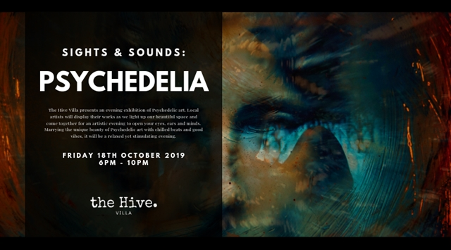 Psychedelic art exhibition at Hive Villa